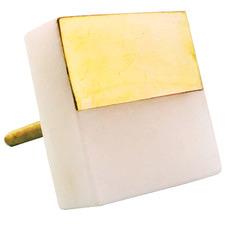White Marble & Brass Square Splicer Knob