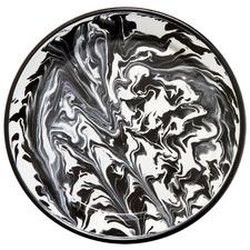 Black Marble 26cm Enamel Flat Plate