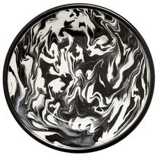 Black Marble 21cm Enamel Flat Plate