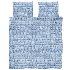 Blue Knit Cotton Quilt Cover Set