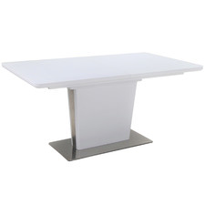 White Mauia Glass-Top Extendable Dining Table