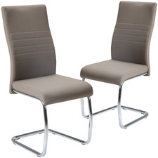 Beige Salma Faux Leather Dining Chairs (Set of 2)
