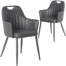 Miza Faux Leather Dining Chairs (Set of 2)
