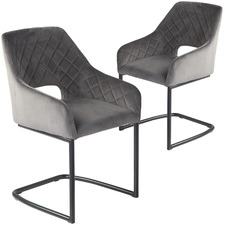 Pebble Grey Dane Velvet Dining Chairs (Set of 2)