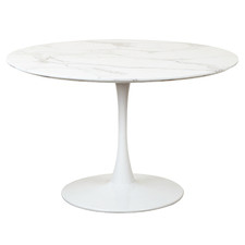 White Hampton Round Dining Table