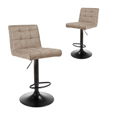 Monza Upholstered Adjustable Barstools (Set of 2)
