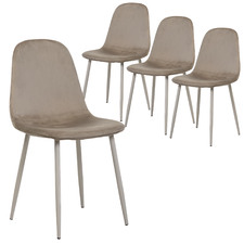 Cappuccino Mia Velvet Dining Chairs (Set of 4)