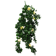 85cm Faux White Rose Hanging Plant Stem