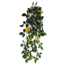60cm Faux Hanging Foliage & Yellow Flowers (Set of 3)