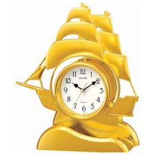 Gold Ship Quartz Table Clock