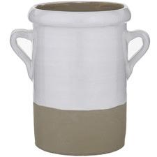 Sage Ceramic Vase with Side Handles