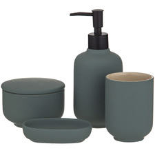 4 Piece Matte Green Becket Bathroom Essential Set