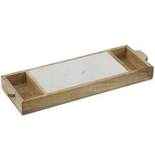 Eliot Marble & Wood Serving Tray