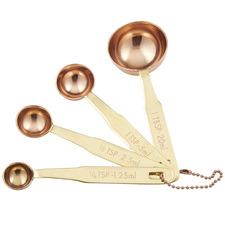4 Piece Brass & Copper Measuring Spoon Set