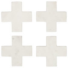 White Cross Eliot Marble Coasters (Set of 4)