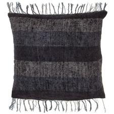 Black Fringed Emerson Cotton Cushion