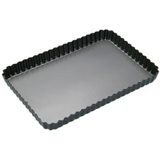 Loose Base 32cm Fluted Rectangular Quiche Tin