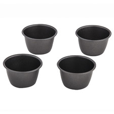 Black Round Pudding Moulds (Set of 4)