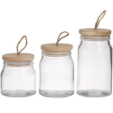 3 Piece Clear Glass Storage Canister Set