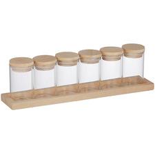 7 Piece Glass Spice Jar & Tray Set