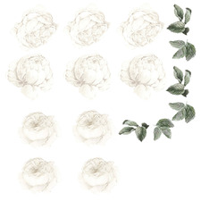 16 Piece White Peony & Rose Wall Decal Set
