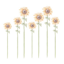 7 Piece Large Sunflower Wall Decal Set