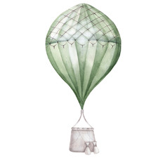 Green Stripe Balloon with Basket Borderless Wall Decal