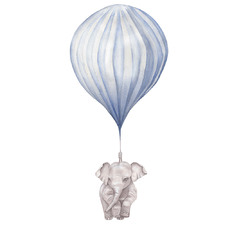 Blue Stripe Balloon with Elephant Borderless Wall Decal