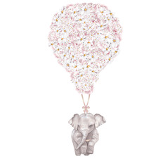 Pink Floral Balloon with Elephant Borderless Wall Decal