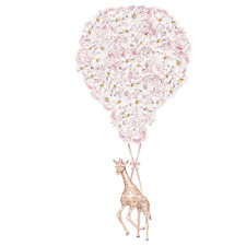 Pink Floral Balloon with Giraffe Borderless Wall Decal