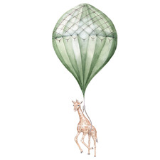 Green Stripe Balloon with Giraffe Borderless Wall Decal