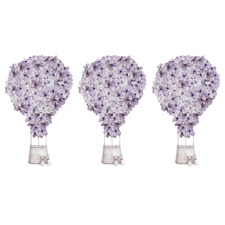 Purple Floral Hot Air Balloon Borderless Wall Decals (Set of 3)
