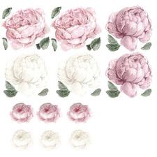 16 Piece Blush Peony & Rose Wall Decal Set