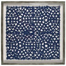 Navy & Grey Taj Framed Linen Wall Art