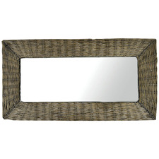 Greywash Liliane Wicker Wall Mirror