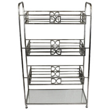 Silver Alistaire Metal & Glass Shelving Unit