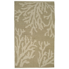 Taupe & White Coral Flat-Woven Cotton Rug