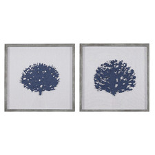 Coral Framed Printed Wall Art Diptych