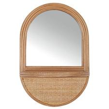 Teuila 46cm Rattan Mirror with Shelf