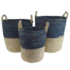3 Piece Isra Navy & Natural Maize Basket Set