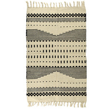 Black & Natural Striped Cotton Rug