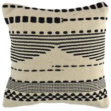 Black & Natural Striped Square Cotton Cushion