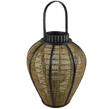 Natural Rome Wood & Jute Candle Lantern