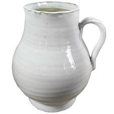 White Wide Mouth Ceramic Jug Vase