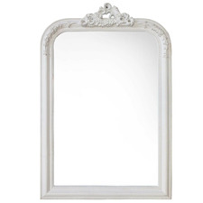 White Asiatic Arched Wall Mirror
