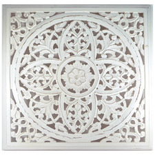 Whitewash Square Carved Wall Accent