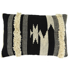 Black & Natural Aztec Rectangular Cotton Cushion