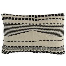 Black & Natural Striped Rectangular Cotton Cushion