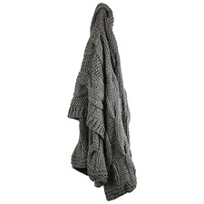 Charcoal Cable Knit Wool-Blend Throw