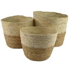 3 Piece Maize 2-Tone Round Basket Set